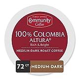 Community Coffee Colombia Altura Medium-Dark Roast Single Serve K-Cup Compatible Coffee Pods, Box of 72 Pods
