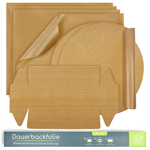 BINMAL® Dauerbackfolie - 7X Zero Waste Backpapier - BPA FREI - spülmaschinenfest & wiederverwendbar - Teflon™ Beschichtung - bis 260 Grad Celsius erhitzbar