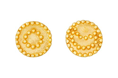 Satya Jewelry EG15A-B Women's Gold Earrings with 1 Sun and 1 Moon Stud Earrings - Silver 925 Gold-Plated
