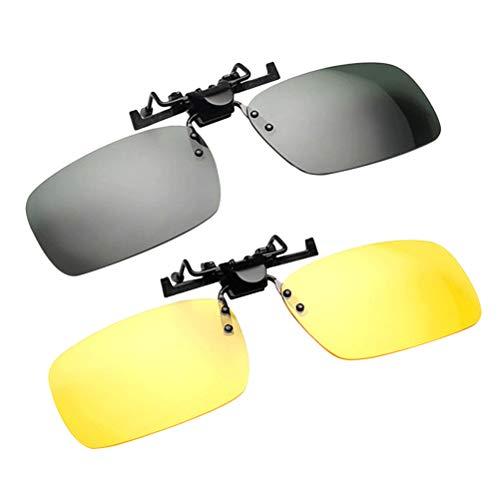 VOSAREA Clip de 2 Piezas en Gafas de Sol para anteojos graduados, Flip Up sin Montura, Lente antirreflejo de visión Nocturna para Conducir Pesca