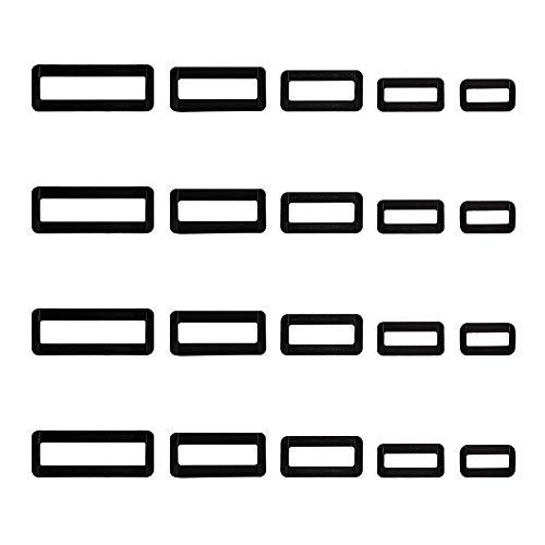 NBEADS Fibbia Rettangolare in Plastica da 100 pz, 5 Diverse Misure Anello Nero D Fibbia Chiusure Cucitura Artigianato Regolatore per Cinghie Cintura Borsa Borsa E Abbigliamento