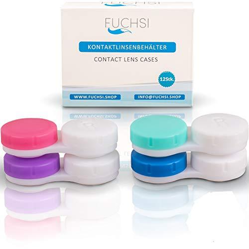 12 STÜCK - FUCHSI Kontaklinsenbehälter | Keimfrei | Deutsche Marke | Geeignet für weiche/harte Linsen | Kontaktlinsen Aufbewahrung | Mehrfarbig