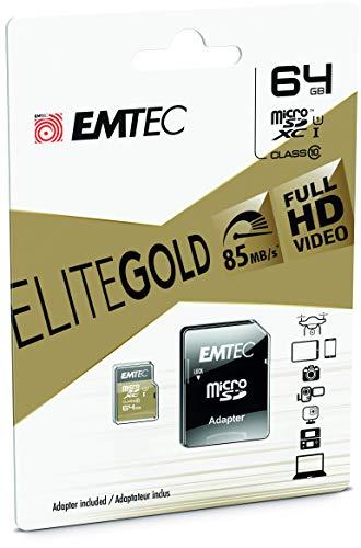 Emtec ECMSDM64GXC10 EliteGold 64GB microSDXC Speicherkarte - Highspeed, SD-Adapter UHS-I, U1, bis 85 MB/Sek