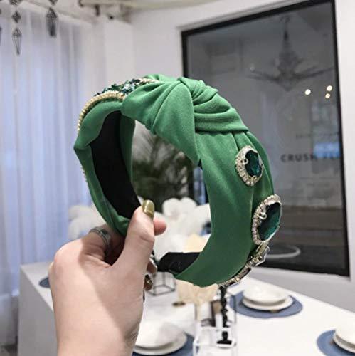 Accessoires pour Cheveux Femmes Bandeau Top Qualité Émeraude Strass Bandeau Large Côté Style Gothique Cheveux Hoop Party Cheveux Accessoires-Serre-Tête Vert