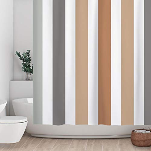 Sunlit Farbenfroher gestreifter Stoff-Duschvorhang mit braunen und grauen vertikalen Streifen, moderner Stil, Badezimmer-Dekoration