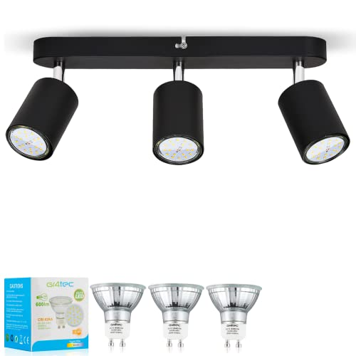 Gr4tec Lámparas de Techo 3 Focos para Pared Giratorio 350°, Incluye 3 x 6W GU10 Bombillas Blanco Natural 4000K, Focos para el Techo LED, AC 220V-240V 600LM, Lámparas de Techo para Salón, Pasillo