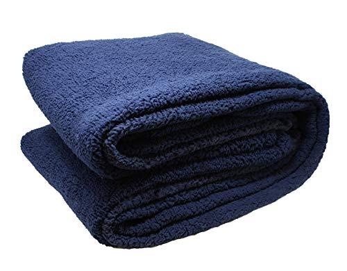 Close Up Henry´s Luxus Wohndecke - Hochwertige XXL Decke - flauschig weiches Fleece, Lammflor Plüsch (Dicke Ausführung), Sherpa Optik - warm - 150 x 200 cm - Blau