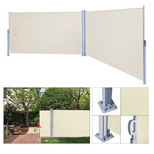 wolketon Doppelseitenmarkise ausziehbar -160 x 600 cm Beige Seitenmarkise TÜV,geprüft UV,Reißfestigkeit,seitlicher Sichtschutz sichtschutz,für Balkon Terrasse ausziehbare markise