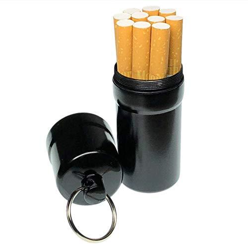 cobalt planet シガレットケース タバコ10本収納 携帯灰皿 防水 キーホルダー 合金 アウトドア 耐湿防圧 (ブラック)
