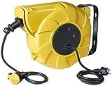Brennenstuhl Enrouleur Electrique Automatique 12m+1,5m de câble H05VV-F 3G2,5 (IP44, montage mural, pivotant), Jaune & Noir