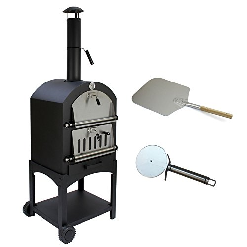 Monster Shop Outdoor Pizza Oven Grill & Pizza Peel Garden Charcoal Portable BBQ Smoker Bread Oven Chimney Stainless Steel
