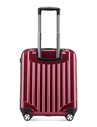 Bagaglio mini ultraleggero, valigia a 4 ruote rigida ABS + PC con guscio rigido, design della ruota girevole a 360 gradi, chassis con blocco password TSA, 19 pollici (Colore : Red)