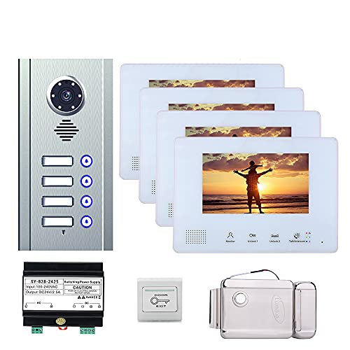 7 Pulgadas Autobús 2 Alambre Video Portátil Teléfono Intercom Sistemas De Intercomes Kit Para Home 4 Apartment Puerta Electrónica Lock Home Night Vision