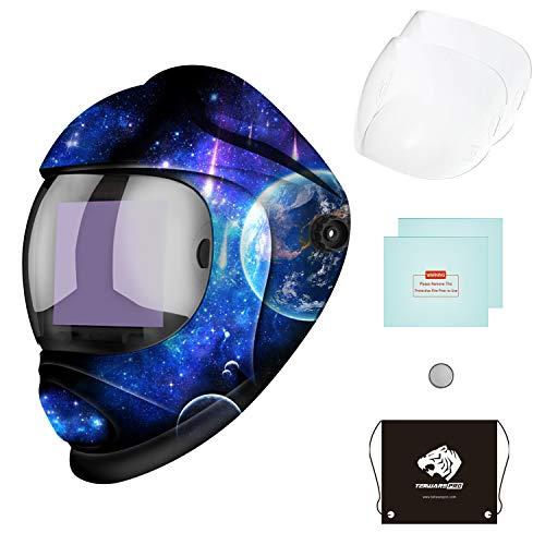 Tekware Large Viewing Screen Welding Helmet Auto Darkening, Luminous True Color Welding Hood Solar Powered, Hemispherical 4C Lens, 4 Arc Sensor Variable Shade 4~5/9-9/13 for TIG MIG Arc Welders Mask