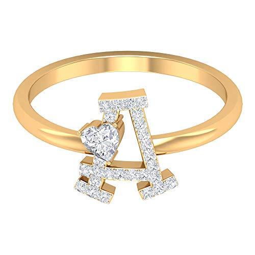 Anillo de compromiso único, anillo de diamante en forma de corazón de 3,5 mm, anillo con letra, anillo de oro alfabeto, anillo con inicial de diamante redondo HI-SI, 14K Oro amarillo, Size:EU 61
