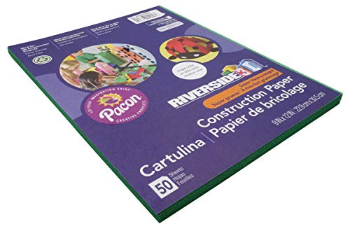 """Riverside 3D Construction Paper, Holiday Green, 9"""" x 12"""", 50 Sheets"""