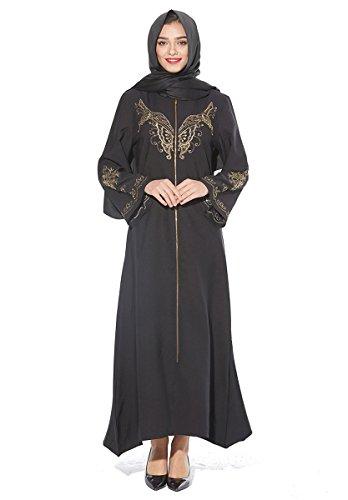 Wincolor Women's Muslim Kaftan Dubai Islamic Abayas Long Sleeve Zipper Front Maxi Long Dress Black (Apparel)