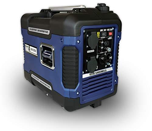 Generador de corriente GNR.2050, gasolina, 4 l de volumen del depósito, grupo electrógeno, motor de 4 tiempos, generador inversor de corriente, con asa