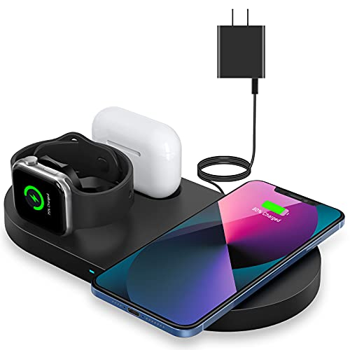 Wireless Charger, Wireless Charging Station Compatible with iPhone 13/12/12 Pro/11/11 Pro Max/XS...