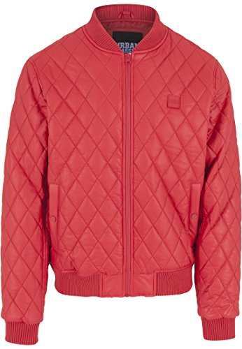 Urban Classics Jacke Diamond Quilt Leather Imitation Jacket Blouson Homme, Rouge (Fire Red), (Taille Fabricant: Large)