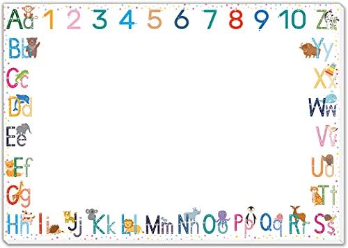 blaash® XXL ABC Schreibtischunterlage Papier DIN A2 für Kinder | 25 Blatt Block mit viel Platz zum Malen, Schreiben oder Kritzeln | Unterlage Schreibtisch Mädchen & Jungen | Tischunterlage Kinder