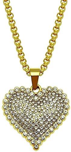 Collar Mujer Collar Collar Europeo y Americano Aleación Diamante Melocotón Corazón Colgante Forma de amor Hombres y mujeres Estilo de pareja Moda Collar simple Accesorios Colgante para mujeres Hombres