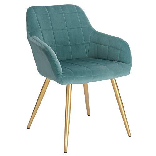 WOLTU® Esszimmerstuhl BH232ts-1 1 Stück Küchenstuhl Polsterstuhl Wohnzimmerstuhl Sessel mit Armlehne, Sitzfläche aus Samt, Gold Beine aus Metall, Türkis