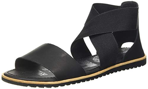 Sorel - Women's Ella Sandal, Leather or Suede Sandal with Stretch Straps, Black, 9.5 M US