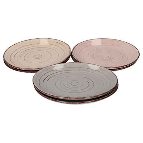 Van Well Royal 6er Dessertteller-Set I robuste Steingut-Teller mit Muster - moderner Landhaus-Stil I geeignet für Mikrowelle & Spülmaschine - bunte Kuchen-Teller I Frühstücksteller bunt 6 Stück