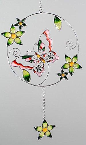 formano Hängedeko Fensterdeko Dekohänger Schmetterling aus Tiffanyglas in grün rot, 36 cm