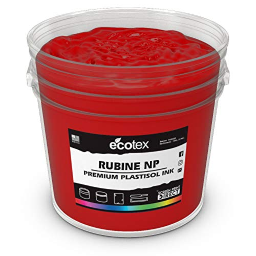 Ecotex Rubine Red NP Plastisol Ink for Screen Printing - Non Phthalate Formula - All Sizes (Pint)
