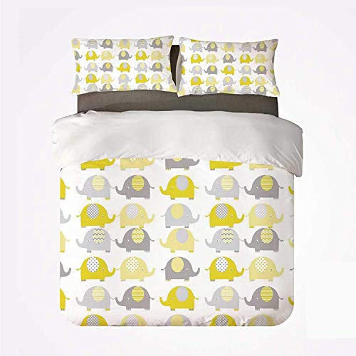 Qoqon Duvet Cover Set Nursery Soft 3 Piece Bedding Set,Yellow and Grey Cute Elephant Collection Cartoon Animals with Different Patterns Decorative for Bedroom