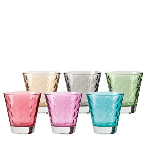 LEONARDO HOME Trinkglas Optic 6-er Set, 215 ml, Wasserglas, Saftglas, Glas Becher, mehrfarbig, bunt, spülmaschinenfest, 047284