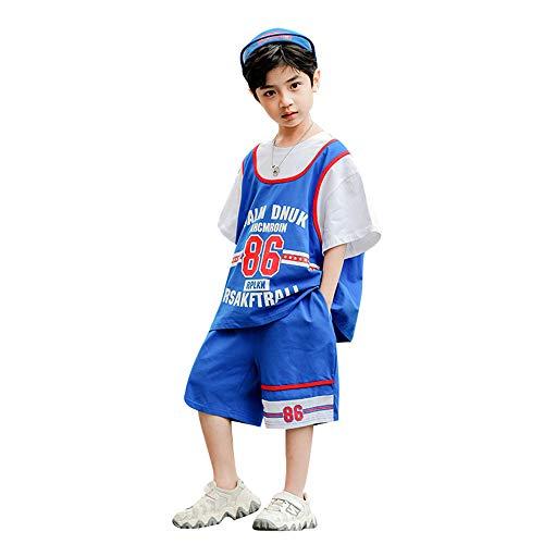 TANERDD Kids Sports Shorts Sets Fußball Basketball Uniform Trikots Trainingsanzug Trainingsanzüge Sommer Kurzarm Set für 4-13 Jahre,110cm