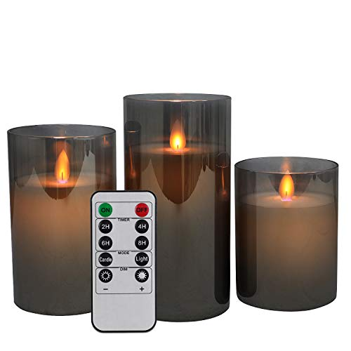 "LED Flameless Candles, Battery Operated Real Pillar Wax Flickering Moving Wick Effect Grey Glass Candle Set for Home Decoration with Remote Control Cycling Timer, 4"" 5"" 6"" Pack of 3"