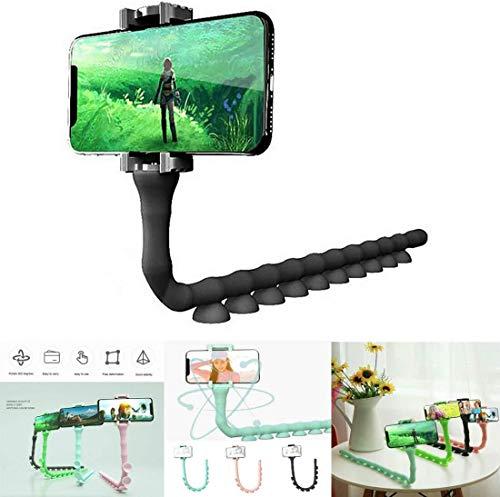 Leuke Caterpillar luie beugel, gsm-houder Worm Flexibele telefoonzuignapstandaard voor smartphone Auto Keuken Fiets Bluetooth Zelfontspanner (zwart)