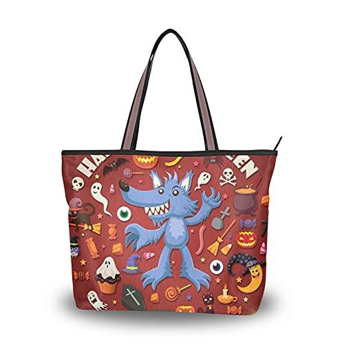 NaiiaN Handtaschen Leichtgewicht Gurt für Mutter Frauen Mädchen Damen Student Einkaufstasche Halloween Schädel Laterne Fledermaus Geldbörse Shopping Umhängetaschen