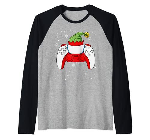 Elfo Navidad Gamer Controller Niños Niños Adolescentes Juegos Navidad Camiseta Manga Raglan