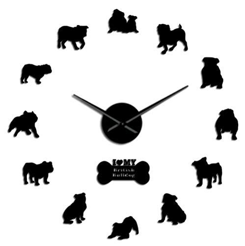 Empty Bulldog inglés Cachorros Reloj de Pared Grande Silueta de Bulldog británico Pegatinas de Arte de Pared DIY Reloj de Pared sin Marco Perro Mascota Dueño Regalo-47_ Pulgadas