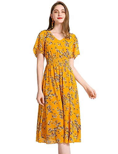 Gardenwed Floral Chiffon Dresses for Women Flowy Cocktail Party Dress Summer Beach Sun Dress Yellow Little Flower XL