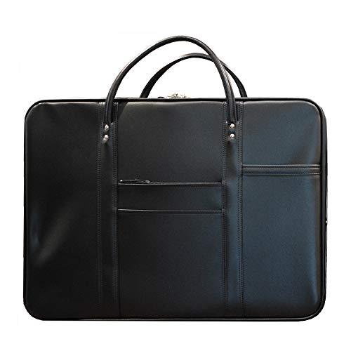 法衣鞄 [ブラック×銀線] 中寸[幅57×高さ42.5×マチ12cm]2本手/鍵付差込錠/裏面ネームポケット材質:高級合成皮革 マット調(hou03001)
