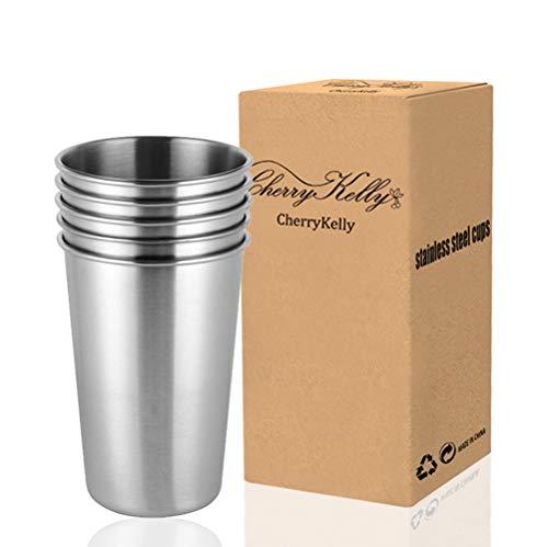 CherryKelly Edelstahl Tassen Wiederverwendbare Metall Becher Stapelbare Trink Gläser, 500ml, 5er Set