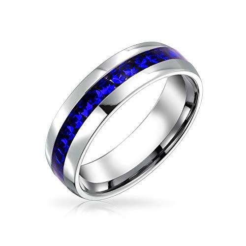 Bling Jewelry Septiembre Mes del Nacimiento Dark Blue Color Channel Set Cristal Eternidad Banda Anillo para Mujeres Plata Tonada Acero Inoxidable