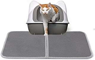 Cat Litter Box Mat,Kitty Litter Trapping Mat, Double Layer -Scatter Control, Urine and Water Proof Material Washable Easie...