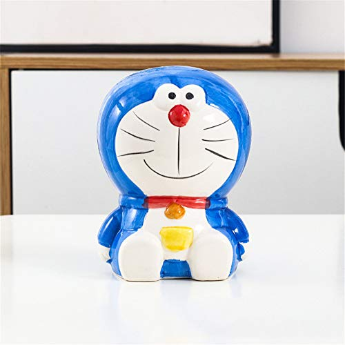 huchas originales,Exquisito Cerámica Doraemon Money Bank Pintado a mano Doraemon Money Piggy Bank Creative - Azul