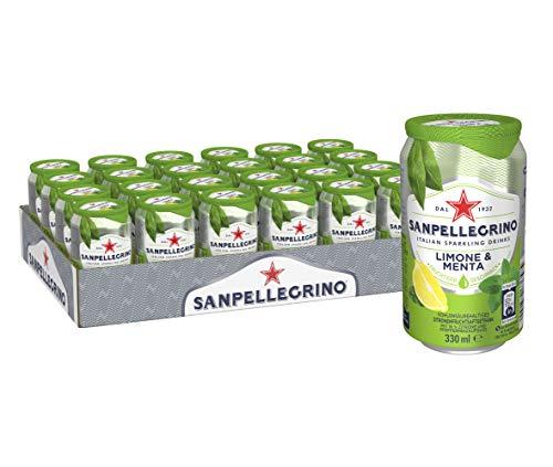 Sanpellegrino Limone E Menta, Zitrone-Minze Limonade, Hoher Fruchtanteil, 16% Zitronensaft, Säuerlich süße Geschmacksnote, Ideal für unterwegs, Einweg Dosen, 24er Pack (24 x 0,33l)