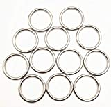 12 Pack 2' Welded O-Ring Nickel Plate Steel Rings Multi-Purpose Metal O Ring for Macrame, Camping Belt, Dog Leashes, Light Saber Accessories, Luggage Belt, Handbag and More Craft Project