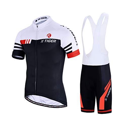 X-TIGER Hombres de Bicicleta con 5D Gel Acolchado MTB Ciclismo Tirantes Culotte Pantalones Cortos Culotes (XXL, Rojo y Blanco)