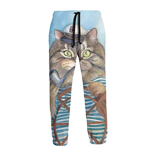 Inaayi Herren Jogginghose Captain Cat Smoking Pipe Steer A Boot Funny Fish Jogger Casual Pants Sport Sweatpants Gr. 41-44.5, Schwarz
