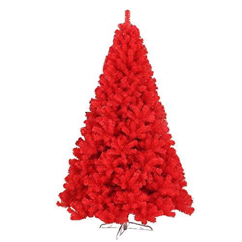 SSRSHDZW Albero di Natale Decorazione di Natale 150CM Albero di Natale Rosso Albero Artificiale in PVC con Basamento del Metallo Coperta di Natale Decorazioni Facile Branch Fold